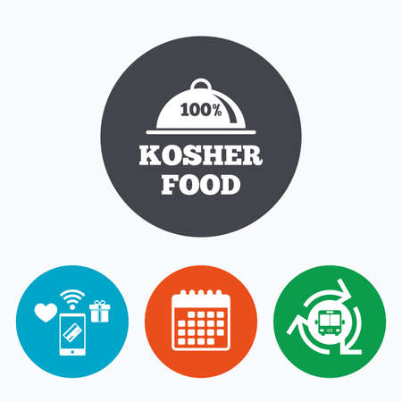 jewish food: 100% Kosher food product sign icon. Natural Jewish food with platter serving symbol. Mobile payments, calendar and wifi icons. Bus shuttle. Illustration