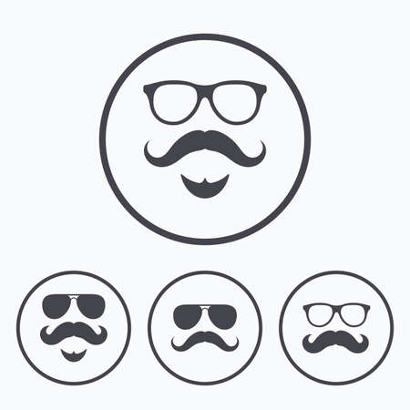 facial hair: Mustache and Glasses icons. Hipster with beard symbols. Facial hair signs. Icons in circles.