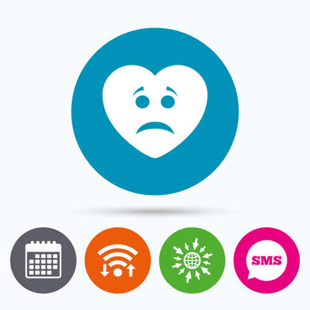 sms icon: Wifi, Sms and calendar icons. Sad heart face sign icon. Sadness depression chat symbol. Go to web globe.