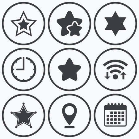 david: Clock, wifi and stars icons. Star of David icons. Sheriff police sign. Symbol of Israel. Calendar symbol.
