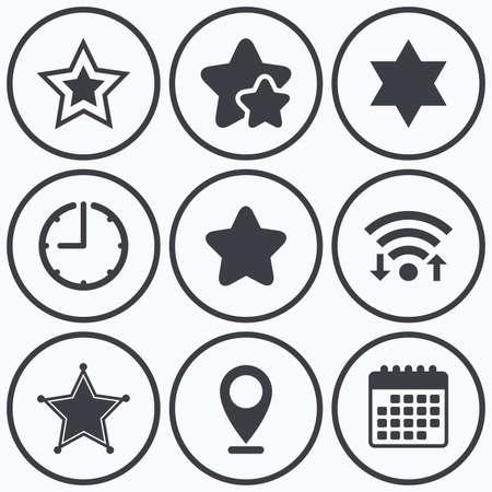 estrella de david: Reloj, WiFi y estrellas iconos. Estrella de David iconos. signo de policía Sheriff. Símbolo de Israel. símbolo de calendario.