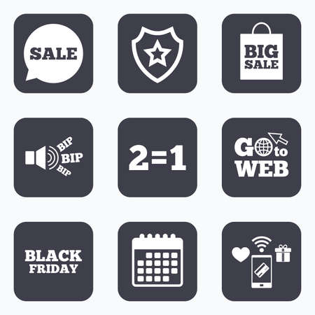 equals: Mobile payments, wifi and calendar icons. Sale speech bubble icons. Two equals one. Black friday sign. Big sale shopping bag symbol. Go to web symbol.