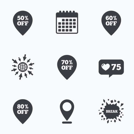 50 to 60: Calendar, like counter and go to web icons. Sale pointer tag icons. Discount special offer symbols. 50%, 60%, 70% and 80% percent off signs. Location pointer. Illustration