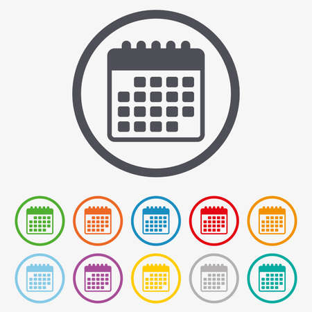 Calendar icon. Event reminder symbol. Round circle buttons with frame.