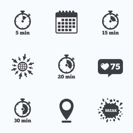 15 to 20: Calendar, like counter and go to web icons. Timer icons. 5, 15, 20 and 30 minutes stopwatch symbols. Location pointer.