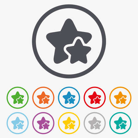 best rated: Star icon. Favorite sign. Best rated symbol. Round circle buttons with frame.