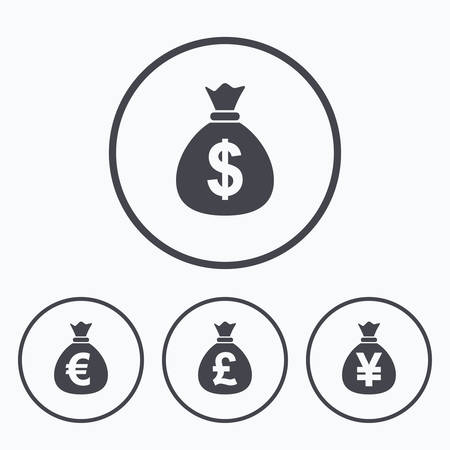 usd: Money bag icons. Dollar, Euro, Pound and Yen symbols. USD, EUR, GBP and JPY currency signs. Icons in circles. Illustration