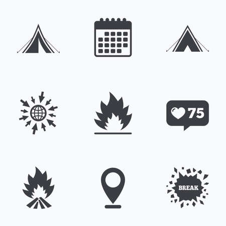 flame like: Calendar, like counter and go to web icons. Tourist camping tent icons. Fire flame sign symbols. Location pointer.