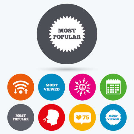 viewed: Wifi, like counter and calendar icons. Most popular star icon. Most viewed symbols. Clients or customers choice signs. Human talk, go to web.