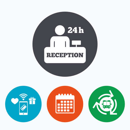 administrator: Reception sign icon. 24 hours Hotel registration table with administrator symbol. Mobile payments, calendar and wifi icons. Bus shuttle.