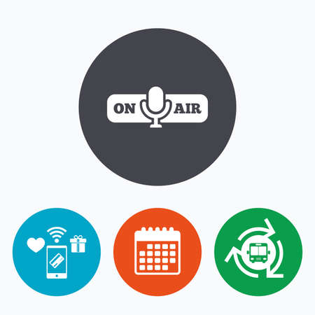 live on air: On air sign icon. Live stream symbol. Microphone symbol. Mobile payments, calendar and wifi icons. Bus shuttle.