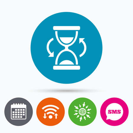 sand timer: Wifi, Sms and calendar icons. Hourglass sign icon. Sand timer symbol. Go to web globe. Illustration