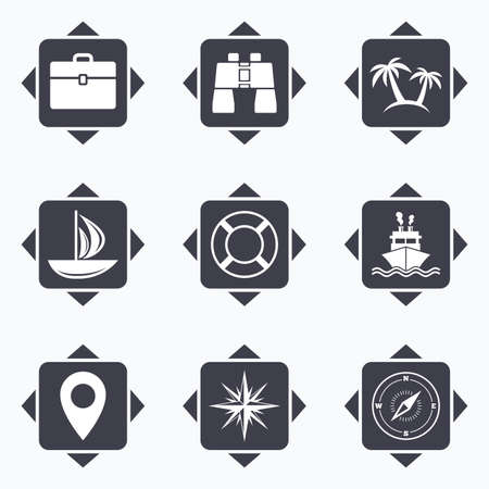 trip: Icons with direction arrows. Cruise trip, ship and yacht icons. Travel, cocktails and palm trees signs. Sunglasses, windrose and swimming symbols. Square buttons.