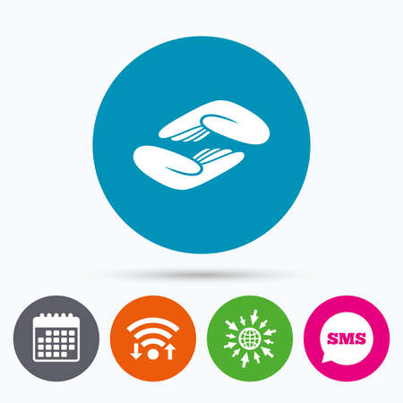 endowment: Wifi, Sms and calendar icons. Helping hands sign icon. Charity or endowment symbol. Human palm. Go to web globe.