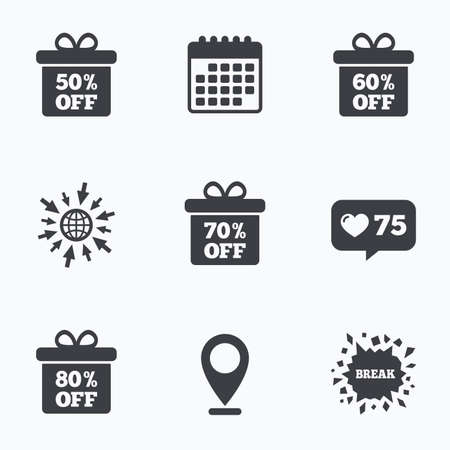 70 80: Calendar, like counter and go to web icons. Sale gift box tag icons. Discount special offer symbols. 50%, 60%, 70% and 80% percent off signs. Location pointer.