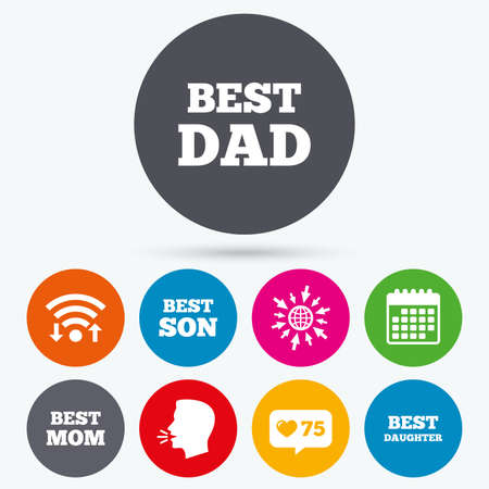 dad son: Wifi, like counter and calendar icons. Best mom and dad, son and daughter icons. Award symbols. Human talk, go to web.