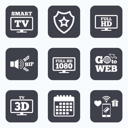 Mobile payments, wifi and calendar icons. Smart TV mode icon. Widescreen symbol. Full hd 1080p resolution. 3D Television sign. Go to web symbol.