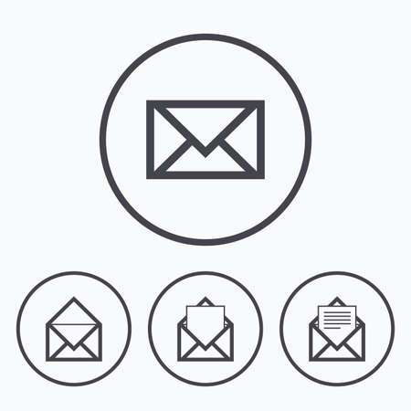 webmail: Mail envelope icons. Message document symbols. Post office letter signs. Icons in circles. Illustration