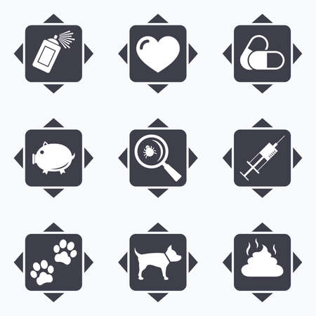 feces: Icons with direction arrows. Veterinary, pets icons. Dog paws, syringe and magnifier signs. Pills, heart and feces symbols. Square buttons.