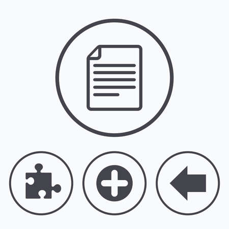 puzzle corners: Plus add circle and puzzle piece icons. Document file and back arrow sign symbols. Icons in circles. Illustration
