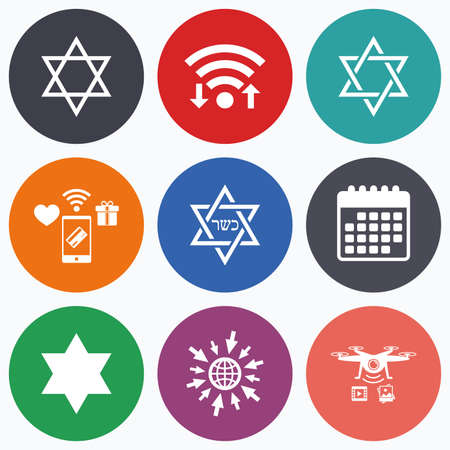 Wifi, mobile payments and drones icons. Star of David sign icons. Symbol of Israel. Calendar symbol.