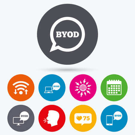 Wifi, like counter and calendar icons. BYOD icons. Notebook and smartphone signs. Speech bubble symbol. Human talk, go to web.