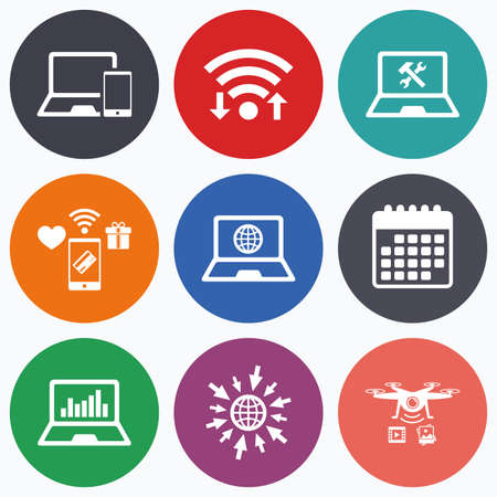 laptop repair: Wifi, mobile payments and drones icons. Notebook laptop pc icons. Internet globe sign. Repair fix service symbol. Monitoring graph chart. Calendar symbol.
