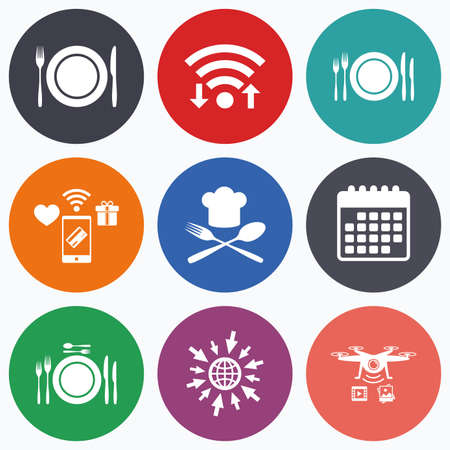 etiquette: Wifi, mobile payments and drones icons. Plate dish with forks and knifes icons. Chief hat sign. Crosswise cutlery symbol. Dining etiquette. Calendar symbol.