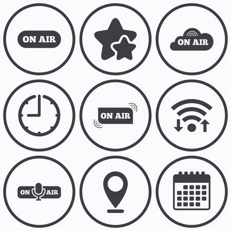 live on air: Clock, wifi and stars icons. On air icons. Live stream signs. Microphone symbol. Calendar symbol.