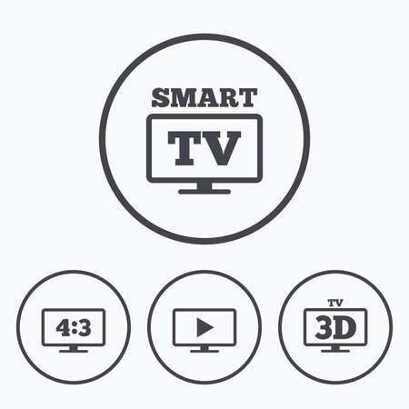 aspect: Smart TV mode icon. Aspect ratio 4:3 widescreen symbol. 3D Television sign. Icons in circles. Illustration