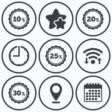 20 25: Clock, wifi and stars icons. Sale discount icons. Special offer stamp price signs. 10, 20, 25 and 30 percent off reduction symbols. Calendar symbol. Illustration