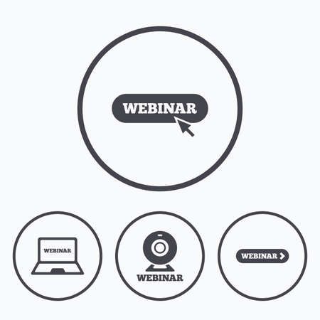 study icon: Webinar icons. Web camera and notebook pc signs. Website e-learning or online study symbols. Icons in circles.