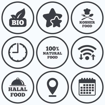 kosher: Clock, wifi and stars icons. 100% Natural Bio food icons. Halal and Kosher signs. Chief hat with fork and spoon symbol. Calendar symbol. Illustration