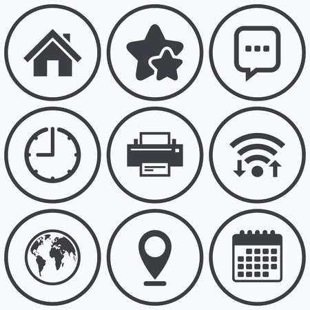three dots: Clock, wifi and stars icons. Home main page and globe icons. Printer and chat speech bubble with suspension points sign symbols. Calendar symbol. Illustration