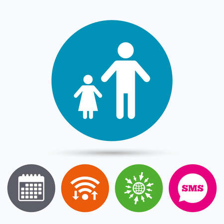 family with one child: Wifi, Sms and calendar icons. One-parent family with one child sign icon. Father with daughter symbol. Go to web globe.
