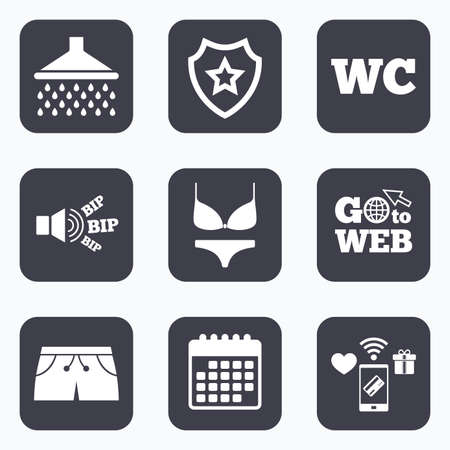 women in underwear: Mobile payments, wifi and calendar icons. Swimming pool icons. Shower water drops and swimwear symbols. WC Toilet sign. Trunks and women underwear. Go to web symbol.