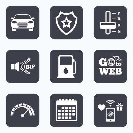 automatic transmission: Mobile payments, wifi and calendar icons. Transport icons. Car tachometer and automatic transmission symbols. Petrol or Gas station sign. Go to web symbol.