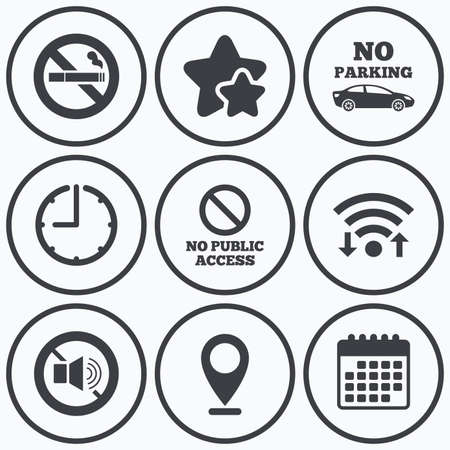 private access: Clock, wifi and stars icons. Stop smoking and no sound signs. Private territory parking or public access. Cigarette symbol. Speaker volume. Calendar symbol.