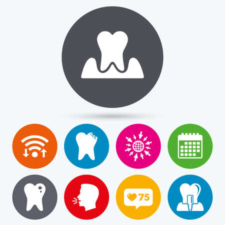 gingivitis: Wifi, like counter and calendar icons. Dental care icons. Caries tooth sign. Tooth endosseous implant symbol. Parodontosis gingivitis sign. Human talk, go to web.