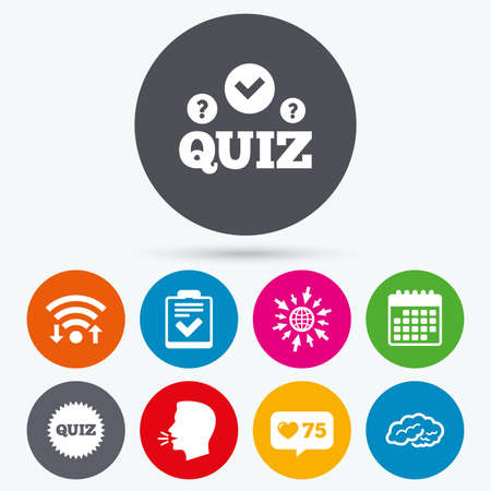feedback form: Wifi, like counter and calendar icons. Quiz icons. Human brain think. Checklist symbol. Survey poll or questionnaire feedback form. Questions and answers game sign. Human talk, go to web.
