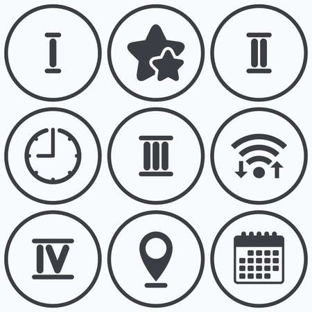 ancient roman: Clock, wifi and stars icons. Roman numeral icons. 1, 2, 3 and 4 digit characters. Ancient Rome numeric system. Calendar symbol. Illustration