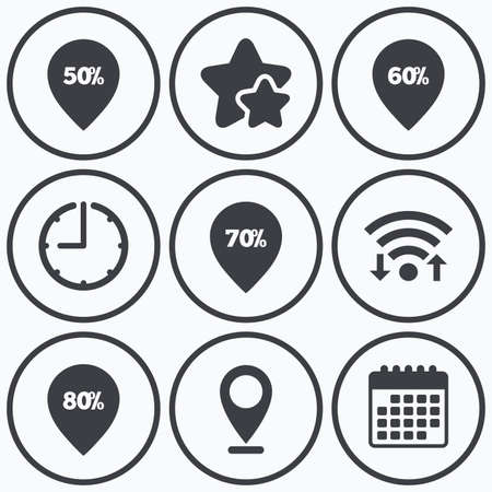 60 70: Clock, wifi and stars icons. Sale pointer tag icons. Discount special offer symbols. 50%, 60%, 70% and 80% percent discount signs. Calendar symbol.