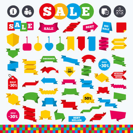 mysql: Banners, web stickers and labels. Information sign. Group of people and database symbols. Chat speech bubbles sign. Communication icons. Price tags set. Illustration