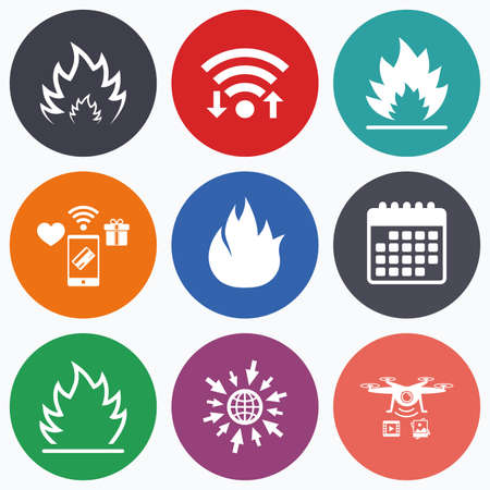 inflammable: Wifi, mobile payments and drones icons. Fire flame icons. Heat symbols. Inflammable signs. Calendar symbol. Illustration