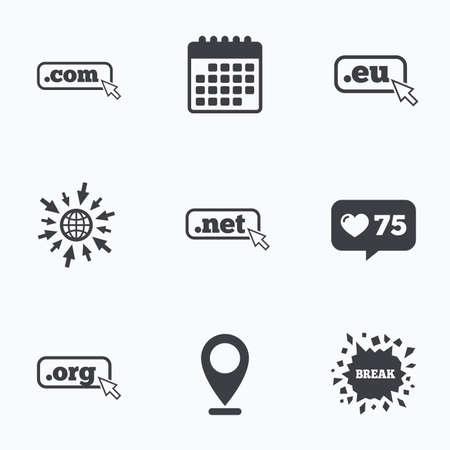 dns: Calendar, like counter and go to web icons. Top-level internet domain icons. Com, Eu, Net and Org symbols with cursor pointer. Unique DNS names. Location pointer.