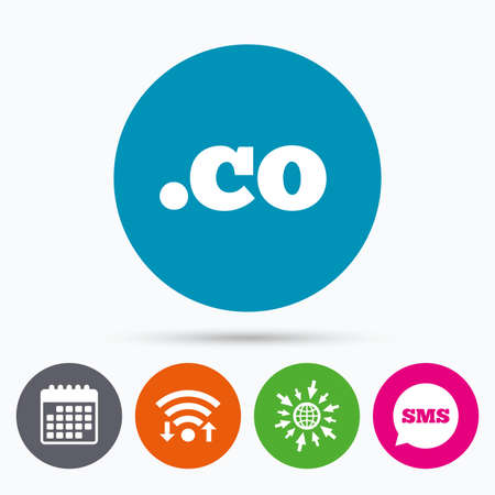 co: Wifi, Sms and calendar icons. Domain CO sign icon. Top-level internet domain symbol. Go to web globe.