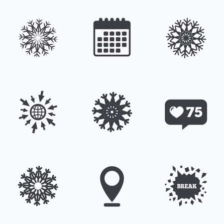 new year counter: Calendar, like counter and go to web icons. Snowflakes artistic icons. Air conditioning signs. Christmas and New year winter symbols. Frozen weather. Location pointer.