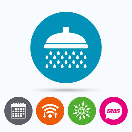 douche: Wifi, Sms and calendar icons. Shower sign icon. Douche with water drops symbol. Go to web globe.