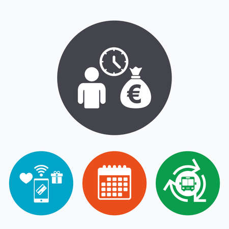fast money: Bank loans sign icon. Get money fast symbol. Borrow money. Mobile payments, calendar and wifi icons. Bus shuttle.