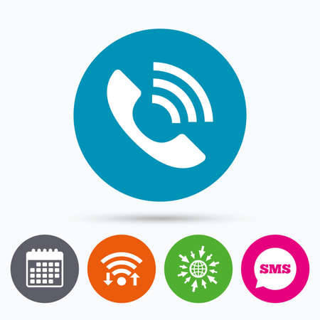 rang: Wifi, Sms and calendar icons. Phone sign icon. Support symbol. Call center. Go to web globe.